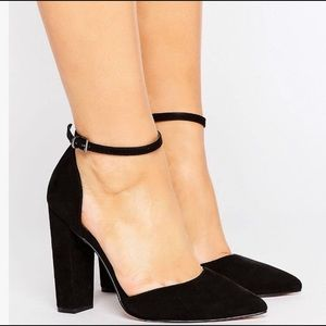 d5ab0d6fc72 ASOS Pointed Block Ankle Heel wide suede